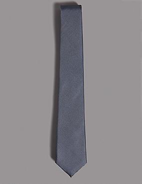 Pure Silk Textured Tie, STEEL BLUE, catlanding