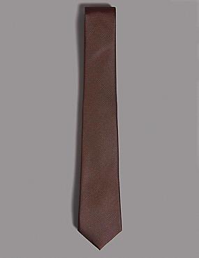 Pure Silk Textured Tie, BURNT ORANGE, catlanding