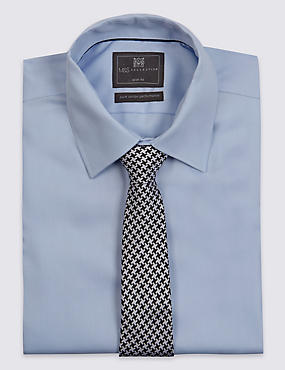 Pure Silk Contemporary Dogtooth Print Tie