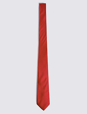 Longer Length Pure Silk Tie, RED, catlanding
