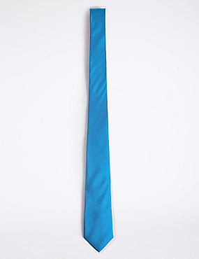 Longer Length Pure Silk Tie, CORNFLOWER, catlanding