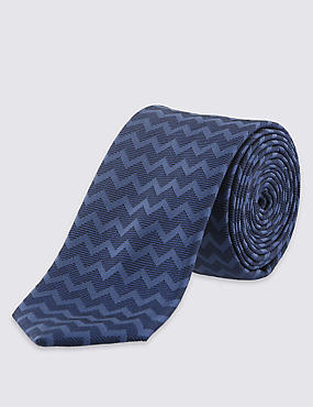 Skinny Fit Wave Striped Neat Tie