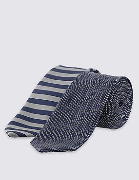 2 Pack Skinny Fit Assorted Ties