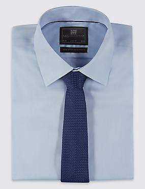 Cravate moderne 100% soie à motif texturé, BLEU MARINE, catlanding