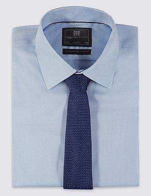 Pure Silk Contemporary Textured Tie, NAVY, catlanding