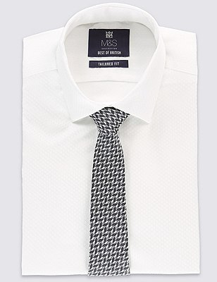 Pure Silk Chevron Zig Zag Print Tie, DENIM MIX, catlanding