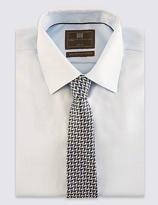 Pure Silk Chevron Zig Zag Print Tie, CHARCOAL MIX, catlanding