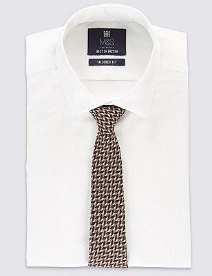 Pure Silk Chevron Zig Zag Print Tie, OXBLOOD, catlanding