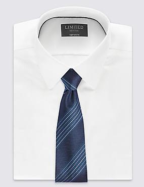 Pure Silk Stripe Tie, TEAL GREEN, catlanding