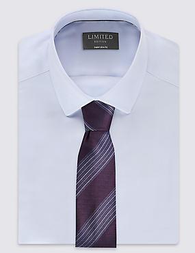 Pure Silk Stripe Tie, AUBERGINE MIX, catlanding