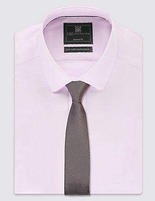 Skinny Fit Pindot Tie, PLATINUM, catlanding