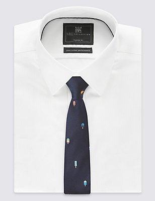 Pure Silk Printed Tie, NAVY MIX, catlanding