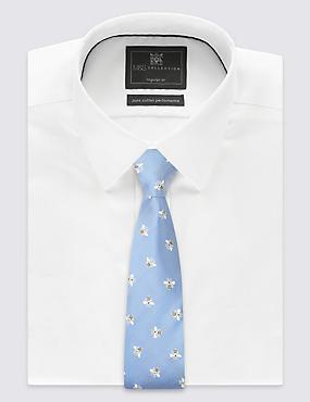 Pure Silk Printed Tie, CORNFLOWER, catlanding