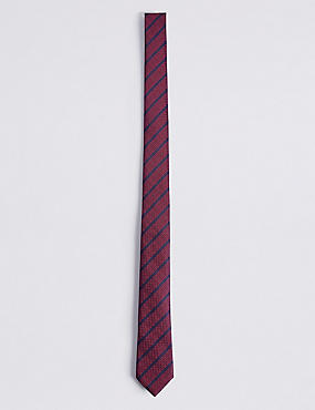 Striped Tie, MEDIUM CRANBERRY, catlanding