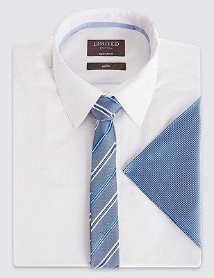 Striped Tie & Pocket Square Set, BLUE MIX, catlanding