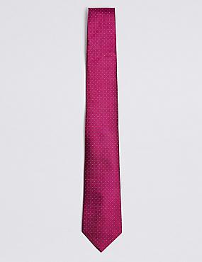 Cravate texturée 100% soie à pois, MAGENTA, catlanding