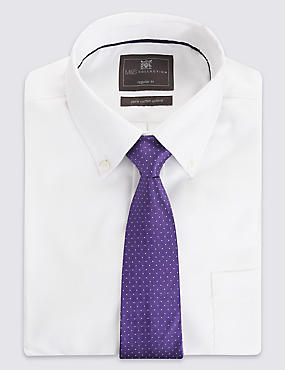 Pure Silk Spotted Textured Tie, GRAPE, catlanding