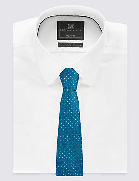 Pure Silk Spotted Textured Tie, KINGFISHER, catlanding