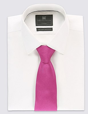 Pure Silk Textured Tie, BRIGHT PINK, catlanding