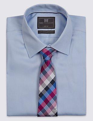 Pure Silk Checked Tie, FUCHSIA MIX, catlanding