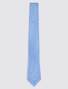 Pure Silk Spotted Tie & Pocket Square Set, LIGHT BLUE MIX, catlanding