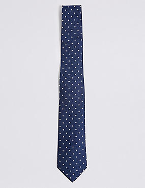 Pure Silk Spotted Tie & Pocket Square Set, NAVY MIX, catlanding