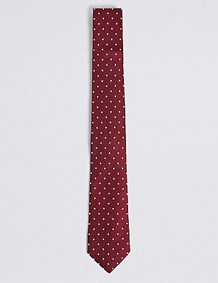 Conjunto de pañuelo de bolsillo y corbata de topos 100% seda, MEZCLA DE TONOS BURGUNDY, catlanding