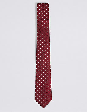 Pure Silk Spotted Tie & Pocket Square Set, BURGUNDY MIX, catlanding