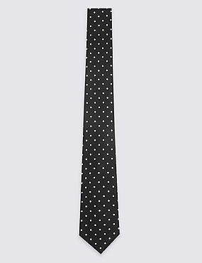 Pure Silk Spotted Tie & Pocket Square Set, BLACK MIX, catlanding