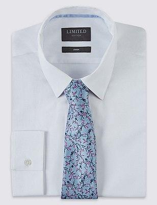 Pure Silk Floral Tie, BLUE MIX, catlanding