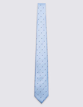 Pure Silk Textured Spotted Tie, LIGHT BLUE, catlanding