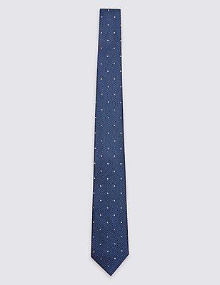 Strukturierte gepunktete Krawatte aus reiner Seide, FLIEDER MELANGE, catlanding