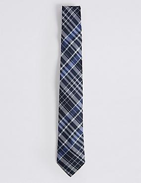 Pure Silk Checked Tie, NAVY MIX, catlanding