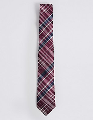 Pure Silk Checked Tie, , catlanding