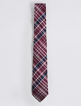 Pure Silk Checked Tie, , catlanding