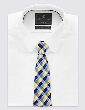 Pure Silk Gingham Checked Tie, YELLOW, catlanding