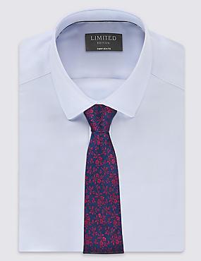 Pure Silk Floral Print Tie, WINE MIX, catlanding