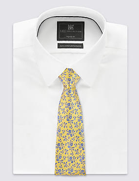 Pure Silk Floral Print Tie, GOLD MIX, catlanding