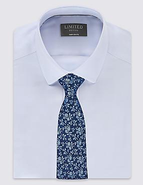 Pure Silk Floral Print Tie, PERIWINKLE, catlanding