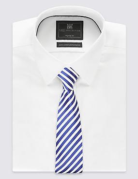 Pure Silk Striped Tie, NAVY/WHITE, catlanding