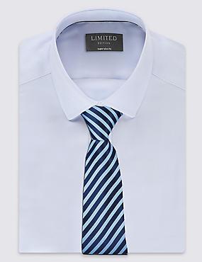 Pure Silk Striped Tie, PERIWINKLE, catlanding