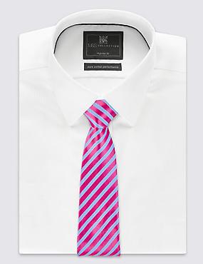 Pure Silk Striped Tie, MAGENTA MIX, catlanding
