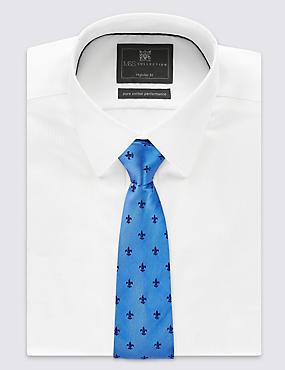 Pure Silk Geometric Print Tie, SMOKEY BLUE, catlanding