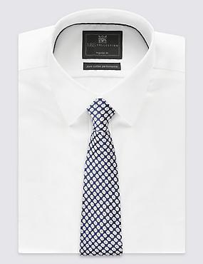 Cravate 100% soie à imprimé géométrique, BLEU MARINE ASSORTI, catlanding