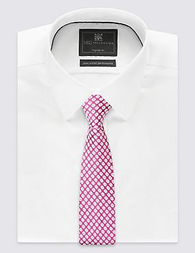 Cravate 100% soie à imprimé géométrique, ROSE MAGENTA, catlanding