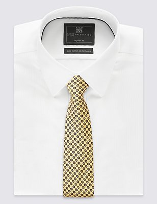 Pure Silk Geometric Print Tie, YELLOW MIX, catlanding