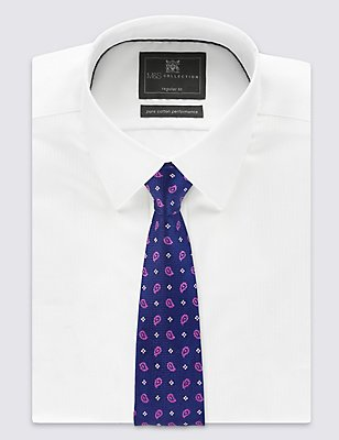 Pure Silk Geometric Print Tie, MAGENTA MIX, catlanding