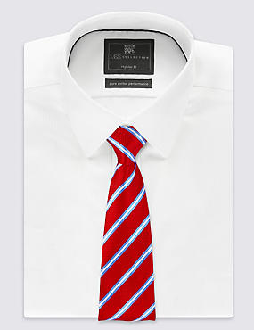 Pure Silk Striped Tie, RED MIX, catlanding