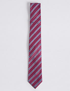 Pure Silk Striped Tie, MAGENTA, catlanding