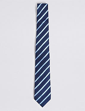 Pure Silk Striped Tie, RICH BLUE, catlanding